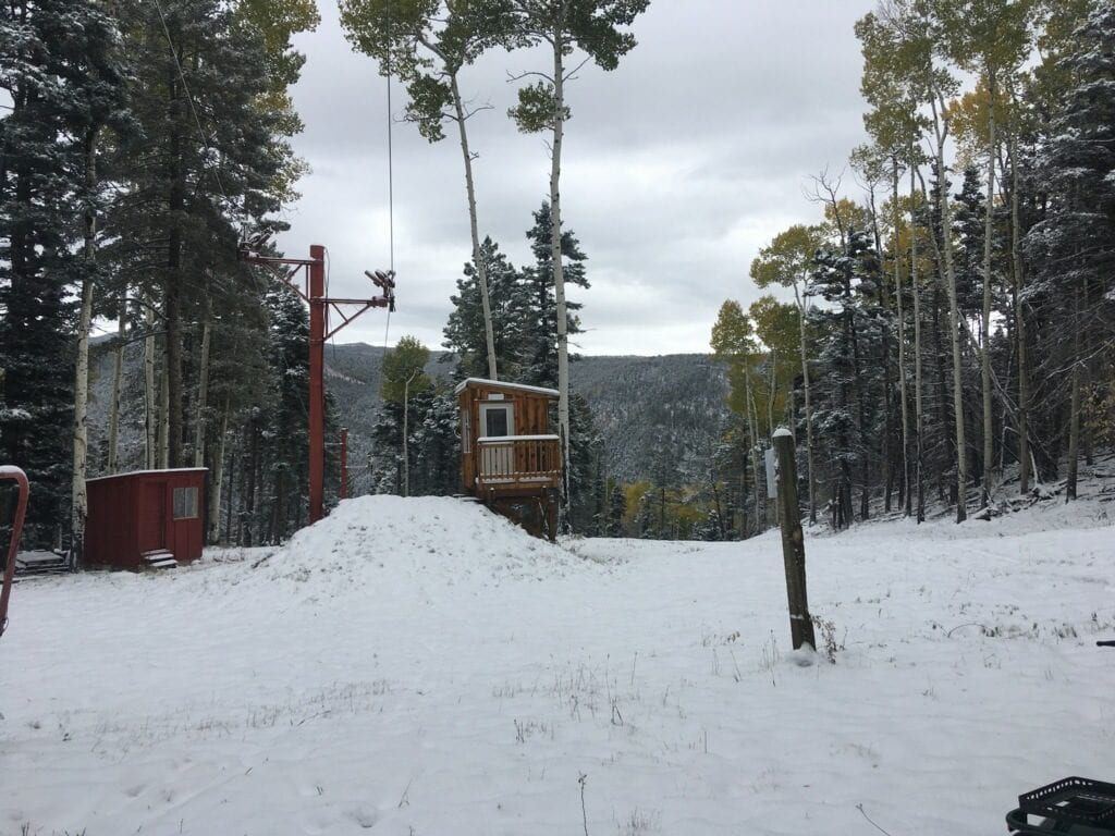 lift shack and snow