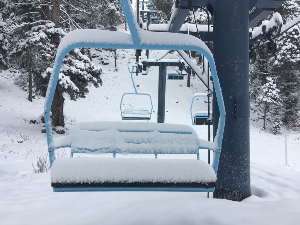 Lift covered in powder