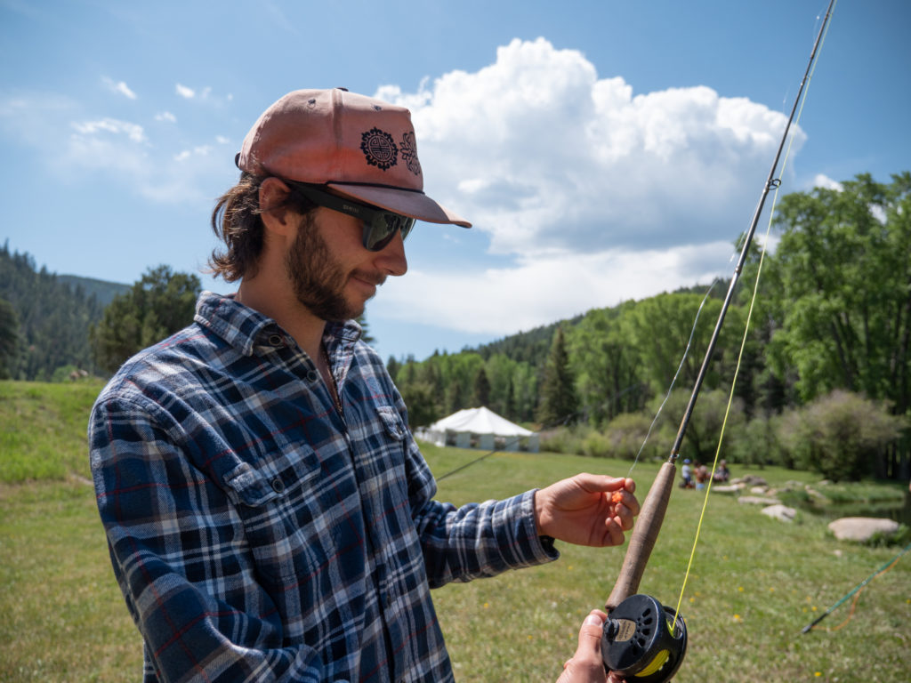 Fly fishing with rod